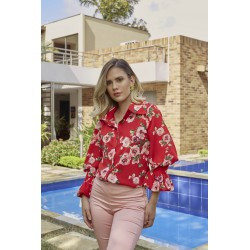 Hakea Blouse red roses
